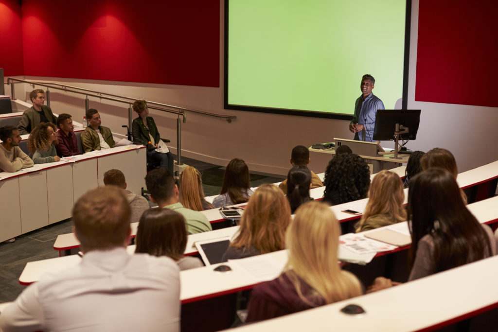 Larger learning spaces such as lecture rooms and auditoria