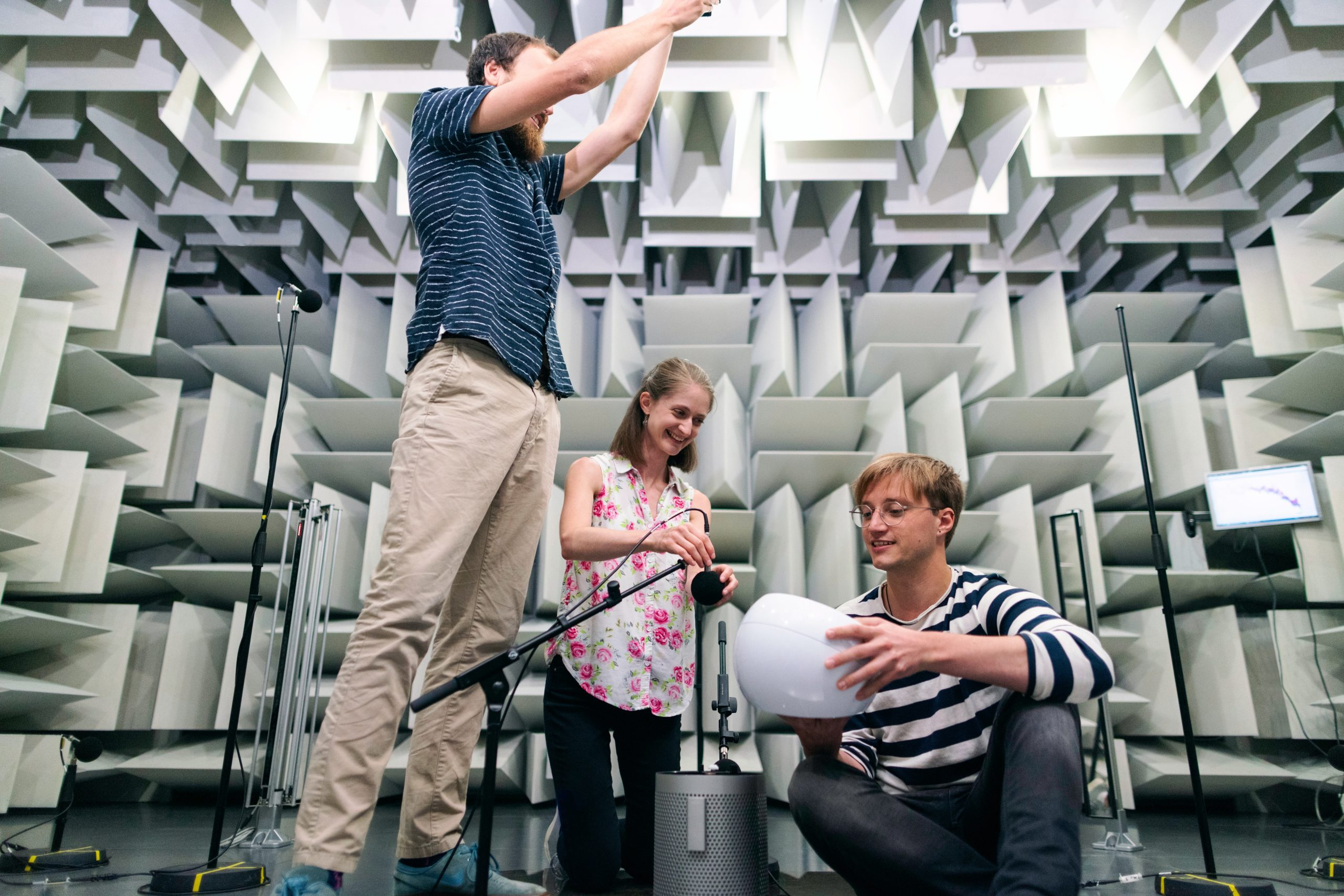 Testing products in a hemi-anechoic chamber allows for more precise results